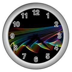 Flowing Fabric of Rainbow Light, Abstract  Wall Clock (Silver)