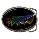 Flowing Fabric of Rainbow Light, Abstract  Belt Buckle (Oval) Front