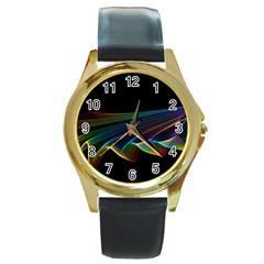 Flowing Fabric of Rainbow Light, Abstract  Round Leather Watch (Gold Rim)