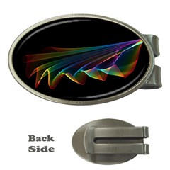 Flowing Fabric of Rainbow Light, Abstract  Money Clip (Oval)