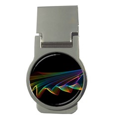 Flowing Fabric of Rainbow Light, Abstract  Money Clip (Round)