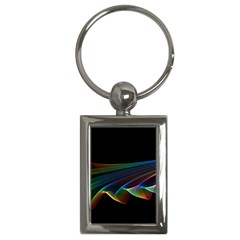 Flowing Fabric Of Rainbow Light, Abstract  Key Chain (rectangle)