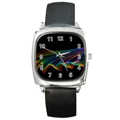 Flowing Fabric of Rainbow Light, Abstract  Square Leather Watch