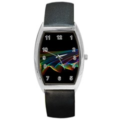 Flowing Fabric of Rainbow Light, Abstract  Tonneau Leather Watch