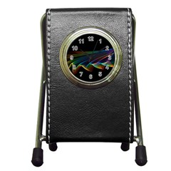 Flowing Fabric Of Rainbow Light, Abstract  Stationery Holder Clock
