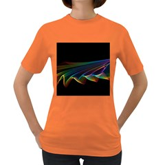Flowing Fabric of Rainbow Light, Abstract  Women s T-shirt (Colored)