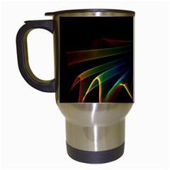 Flowing Fabric of Rainbow Light, Abstract  Travel Mug (White)