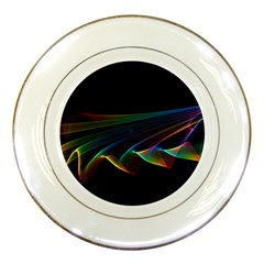 Flowing Fabric of Rainbow Light, Abstract  Porcelain Display Plate