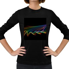 Flowing Fabric Of Rainbow Light, Abstract  Women s Long Sleeve T Shirt (dark Colored)