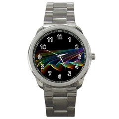 Flowing Fabric of Rainbow Light, Abstract  Sport Metal Watch
