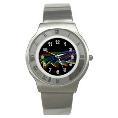 Flowing Fabric of Rainbow Light, Abstract  Stainless Steel Watch (Slim)