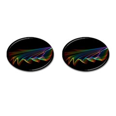 Flowing Fabric of Rainbow Light, Abstract  Cufflinks (Oval)