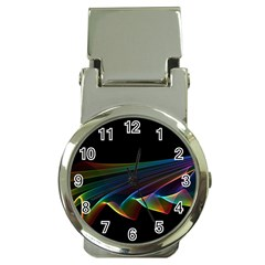 Flowing Fabric Of Rainbow Light, Abstract  Money Clip With Watch