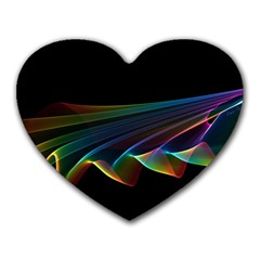 Flowing Fabric Of Rainbow Light, Abstract  Mouse Pad (heart)