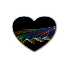 Flowing Fabric Of Rainbow Light, Abstract  Drink Coasters 4 Pack (heart)