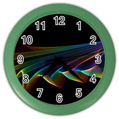 Flowing Fabric of Rainbow Light, Abstract  Wall Clock (Color)