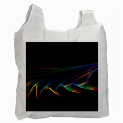 Flowing Fabric Of Rainbow Light, Abstract  White Reusable Bag (one Side)