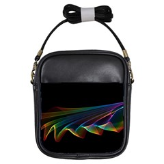 Flowing Fabric Of Rainbow Light, Abstract  Girl s Sling Bag