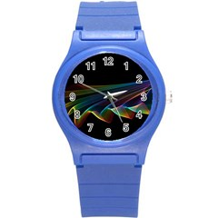 Flowing Fabric of Rainbow Light, Abstract  Plastic Sport Watch (Small)