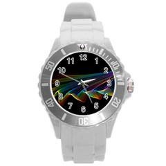 Flowing Fabric Of Rainbow Light, Abstract  Plastic Sport Watch (large)