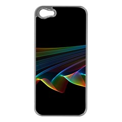 Flowing Fabric of Rainbow Light, Abstract  Apple iPhone 5 Case (Silver)