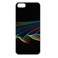 Flowing Fabric Of Rainbow Light, Abstract  Apple Iphone 5 Seamless Case (white)