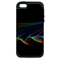 Flowing Fabric Of Rainbow Light, Abstract  Apple Iphone 5 Hardshell Case (pc+silicone)