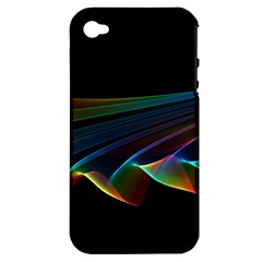 Flowing Fabric Of Rainbow Light, Abstract  Apple Iphone 4/4s Hardshell Case (pc+silicone)