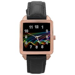Flowing Fabric Of Rainbow Light, Abstract  Rose Gold Leather Watch