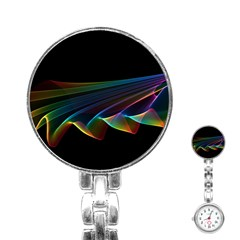 Flowing Fabric of Rainbow Light, Abstract  Stainless Steel Nurses Watch