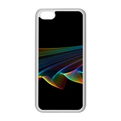 Flowing Fabric of Rainbow Light, Abstract  Apple iPhone 5C Seamless Case (White)