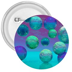 Ocean Dreams, Abstract Aqua Violet Ocean Fantasy 3  Button