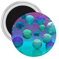 Ocean Dreams, Abstract Aqua Violet Ocean Fantasy 3  Button Magnet
