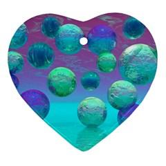 Ocean Dreams, Abstract Aqua Violet Ocean Fantasy Heart Ornament