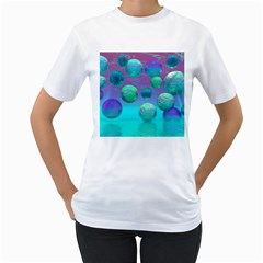 Ocean Dreams, Abstract Aqua Violet Ocean Fantasy Women s Two Sided T Shirt (white)