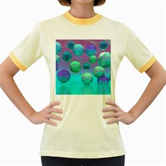 Ocean Dreams, Abstract Aqua Violet Ocean Fantasy Women s Ringer T Shirt (colored)