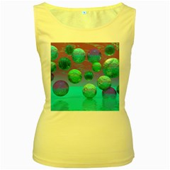 Ocean Dreams, Abstract Aqua Violet Ocean Fantasy Women s Tank Top (Yellow)