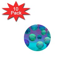 Ocean Dreams, Abstract Aqua Violet Ocean Fantasy 1  Mini Button (10 pack)
