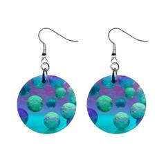 Ocean Dreams, Abstract Aqua Violet Ocean Fantasy Mini Button Earrings