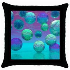 Ocean Dreams, Abstract Aqua Violet Ocean Fantasy Black Throw Pillow Case