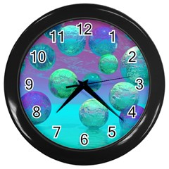 Ocean Dreams, Abstract Aqua Violet Ocean Fantasy Wall Clock (Black)