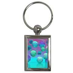 Ocean Dreams, Abstract Aqua Violet Ocean Fantasy Key Chain (rectangle)