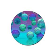 Ocean Dreams, Abstract Aqua Violet Ocean Fantasy Drink Coasters 4 Pack (round)