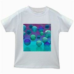 Ocean Dreams, Abstract Aqua Violet Ocean Fantasy Kids T-shirt (White)