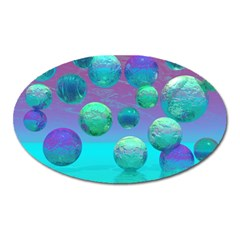Ocean Dreams, Abstract Aqua Violet Ocean Fantasy Magnet (Oval)