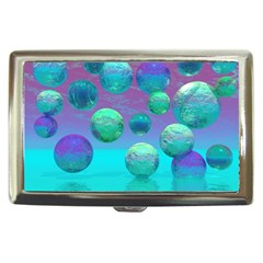 Ocean Dreams, Abstract Aqua Violet Ocean Fantasy Cigarette Money Case