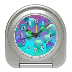 Ocean Dreams, Abstract Aqua Violet Ocean Fantasy Desk Alarm Clock