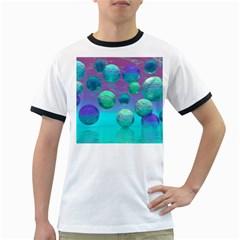 Ocean Dreams, Abstract Aqua Violet Ocean Fantasy Men s Ringer T-shirt