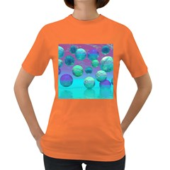 Ocean Dreams, Abstract Aqua Violet Ocean Fantasy Women s T-shirt (Colored)