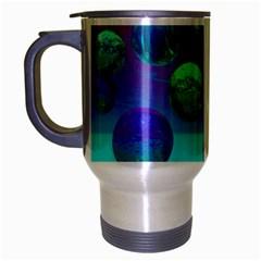Ocean Dreams, Abstract Aqua Violet Ocean Fantasy Travel Mug (Silver Gray)